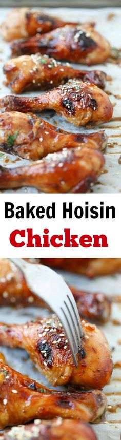Baked Hoisin Chicken – moist, juicy and delicious chicken marinated with Hoisin sauce. Easy recipe that anyone can make at home Easy Chinese Recipes, Asian Recipes, Healthy Recipes, Delicious Recipes, Top Recipes, Recipies, Hoisin Chicken, Marinated Chicken, Chicken Drumsticks
