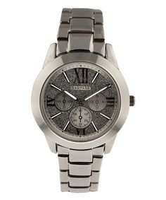 This Gunmetal Roman Numeral Faux Chronograph Watch is perfect! #zulilyfinds
