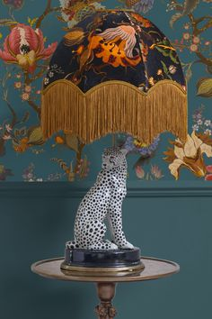 Painted with psychedelic wildflowers, the ARTEMIS print is House of Hackney's way of honouring interior design rule-breaker William Morris. Meanwhile, the shape of the Oria velvet lampshade – handcrafted in the UK and fringed in gold – i Decoration, Art Decor, Home Decor, Victorian Greenhouses, I Love Lamp, Antique Plates, Book Sculpture, Print Wallpaper, Cow Print