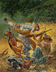 Pulp, Pulp-like, Digests, and Paperback Art, Tom Beecham (American, 1926-2000). The Wild Leopard, Furymagazine cover, October 1957. Gouache on board. 17.5 x 13.625...