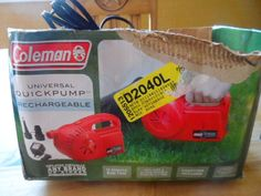 AIR PUMP UNIVERSAL. QUICK PUMP.RECHARGEABLE. COLEMAN. NEW IN BOX #COLEMAN