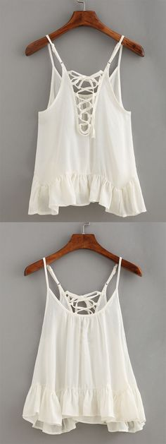 Lace-Up Ruffled Hem Cami Top – White jeito Darknie de usar vs jeito Red-L de usar Pretty Outfits, Beautiful Outfits, Cool Outfits, Summer Outfits, Casual Outfits, Boho Fashion, Fashion Outfits, Fashion Trends, Cute Tops