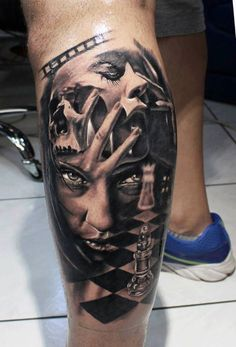 This amazing interpretation of a split personality was inked by Kostas Baronis. #InkedMagazine #portrait #tattoo #tattoos #inked #ink #chess #realism
