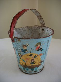 Distressed Childs Tin Sand Pail Chein Train