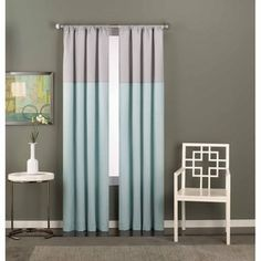 CHF & You Colorblock Pole Top Window Panel - Extremely affordable. Love the muted gray/blue..