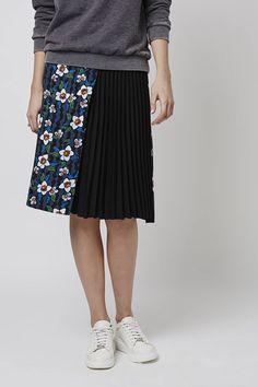 TOPSHOP Flower Pleat Panel Midi Skirt