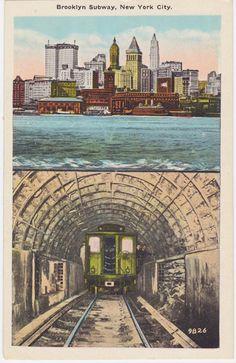 BROOKLYN SUBWAY NYC Vintage Postcard 1930s by AgnesOfBohemia, $4.99