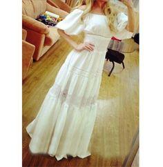 2015 New Summer Women Lace Long Dress Fashion Slash neck Half Sleeve Elegant White Lace Dress Women Maxi Dress vestidos largos