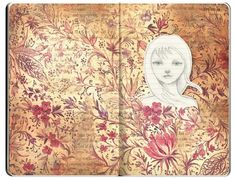 I particularly like this visual journal design because of its calm vicinity of flowers and reddish pinkish colour. The author plays a major role in this to make the face come out of the background to make it look like there is a dull face in front of the flowers. It plays a trick on the way the eye communicates with the brain. It has a great text positioning that blends into the background and it has direct contact with the eye, there is no need to find the text positions.