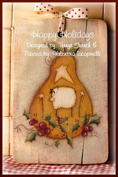 """Country Painting E-Pattern Packet. """"HAPPY HOLIDAYS"""" Design by Terrye French. Painted by me.. $5,00, via Etsy."""