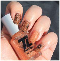 Oransje glitter med Nail foil.