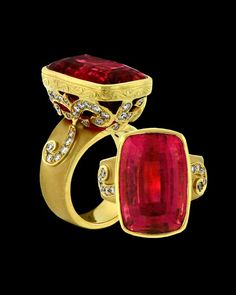 Red tourmaline, such a deep saturated shade. Custom ring by Paula Crevoshay.
