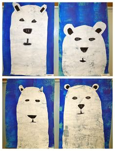 texture collage polar bears inspired by etsy artist ryan fowler. from the colors of my day blog.