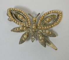 Vintage hair clip  butterfly  pearls  Wedding hair by FeliceSereno, $5.00