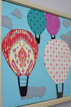 hot air balloon fiber wall art with clouds using turned edge machine applique New Classroom, Classroom Design, Classroom Themes, Cute Bulletin Boards, Library Bulletin Boards, Classroom Organisation, Classroom Displays, Hot Air Balloon Classroom Theme, Child Life Specialist