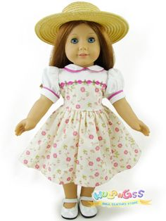 "Doll Clothes fits 18"" American Girl Handmade 1930's/40's Floral Summer Dress&Hat"