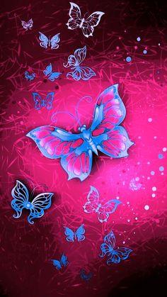 By Artist Unknown. Kitty Wallpaper, Butterfly Wallpaper, Love Wallpaper, Wallpaper Backgrounds, Purple Butterfly, Butterfly Flowers, Beautiful Butterflies, Pretty Wallpapers Tumblr, Cute Wallpapers
