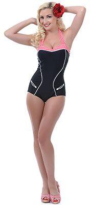 Retro Swimwear - Shop Vintage Swimsuits at Unique Vintage Unique Swimsuits, Vintage Swimsuits, Retro Bathing Suits, Retro Swimwear, Plus Size Bikini, Red Gingham, Retro Dress, Look, Casual Outfits