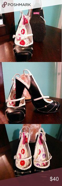 Betsey Johnson Sling Heel Beautiful black & white square toe slingback heel with cute hearts..  Never worn Betsey Johnson Shoes Heels