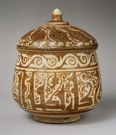 Pyxis (Cylindrical Container), 11th–12th century, Syria  #ceramics #pottery