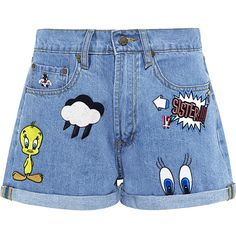 Paul & Joe Sister - Patch embroidered looney denim shorts (610 BRL) ❤ liked on Polyvore featuring shorts, comic book, embroidered denim shorts, denim short shorts, embroidered shorts and jean shorts