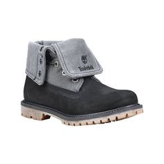 Women's Timberland Authentics Ankle Boot - Black/Grey Nubuck/Canvas... ($130) ❤ liked on Polyvore featuring shoes, boots, ankle booties, grey bootie, short black boots, grey booties, ankle boots and gray ankle boots