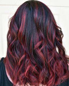 Braune haare rote strähnchen