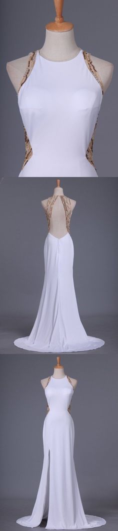 2020 Prom Dresses Scoop Spandex With Beads And Slit Sweep PES886FG, This dress could be custom made, there are no extra cost to do custom size and color Split Prom Dresses, Mermaid Prom Dresses, Cheap Evening Dresses, Cheap Prom Dresses, Sweetheart Prom Dress, Trumpet Skirt, Pleated Bodice, Pink Tulle, Blue Satin