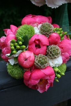 Love the lime green with the bright pink peonies