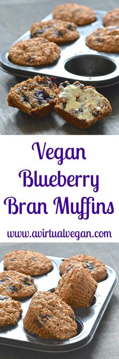 Simple & delicious Vegan Blueberry Bran Muffins that are packed full of healthy ingredients. Only 140 calories each, whole grain, oil & refined-sugar free. Perfect for breakfast, snacks & lunch boxes! via @avirtualvegan