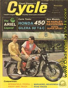 1965 Cover: this colorful scene is typical of the universal acceptance motorcycles and motorcyclists are enjoying these days. Bike is a BSA Lightning Rocket.