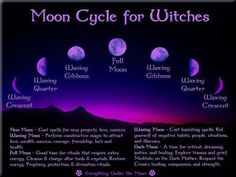 How the cycles of the moon are used in Wicca and magick. Perform your rituals during the proper moon phases. Moon Witch, Witch Spell, Maleficarum, Waxing And Waning, Magick Spells, Hoodoo Spells, Pagan Witchcraft, Healing Spells, Vegvisir