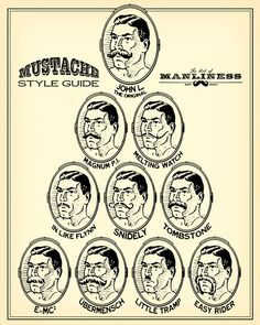 The Art of Manliness Mustache Style Guide http://www.artofmanliness.com/2011/10/31/mustache-styles/