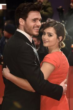 Pin for Later: Richard Madden: From Game of Thrones to Lady Chatterley's Lover  We got a little jealous when Richard cuddled up to former girlfriend, Doctor Who star Jenna Coleman in February.