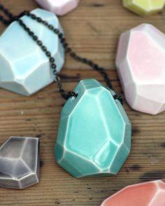 "large faceted stone necklace, glazed porcelain - by ""madebymememe"" (Jade gallup, London)"