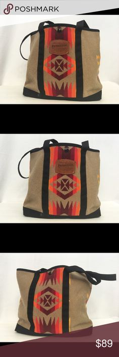 Pendleton Rare Chief Joseph Print Tote Preowned, Pendleton Rare Geometric Tribal Arrow Chief Joseph Print Wool Tote.  See last pic for wear. Pendleton Bags Totes