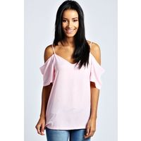 boohoo Aimee Woven Strappy Open Shoulder Blouse available in pink