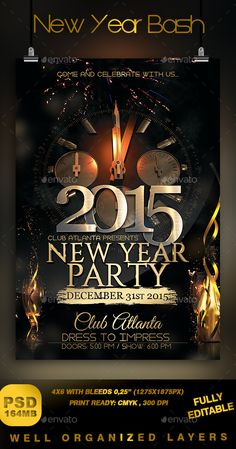 New Year Bash Flyer Template PSD   Buy and Download: http://graphicriver.net/item/new-year-bash/9070345?WT.ac=category_thumb&WT.z_author=Stormclub&ref=ksioks