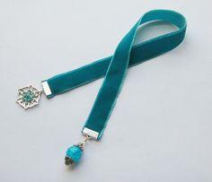 Teal Velvet Ribbon Bookmark by WhispySnowAngel on Etsy, $10.00 I have some velvet ribbon somewhere...
