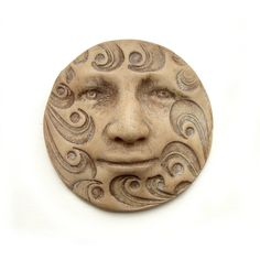 Faux Bone Carved Waves Round 40mm Art Doll Face Cab Parts Beige Ivory Oatmeal Cream Buff Sepia Tan Polymer Clay Cabochon 2696. $9.00, via Etsy.