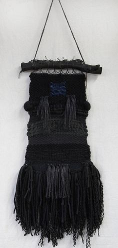 Black Fringe and Midnight Blue Weaving Wall Hanging in wool