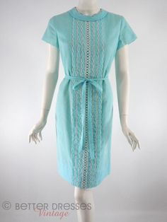 60s Blue Shift Dress - med