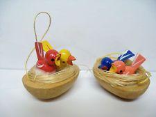 Vintage Wood Wooden Erzgebirge Germany Spring Baby Birds in Nests Ornaments