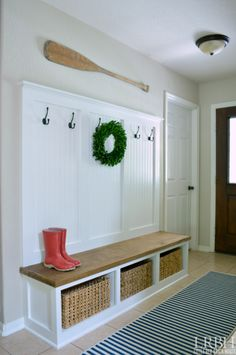 DIY Entryway Mudroom Reveal | LITTLE RED BRICK HOUSE                                                                                                                                                     More