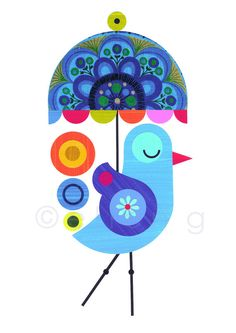 Etsy > Ellen Giggenbach > Blue bird with Umbrella Print of Paper Cut