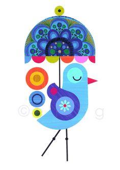 Blue bird with Umbrella Print of Paper Cut by EllenGiggenbach