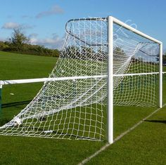 Fitness Sports aluminium in ground socketed football goals ideal for use in parks, schools, play areas and open spaces. Includes one complete unit with single cross bar, 2 side posts, 2 steel sockets, 2 extension arms and outdoor football net. Light weight.