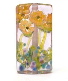 Lampwork Bead Glass Handmade Orange Flowers on by susansheehan