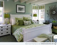 Green, earthy, nature, pretty! Bedding is ehhh but love the colors. Love the nightstand size and style but not in white.