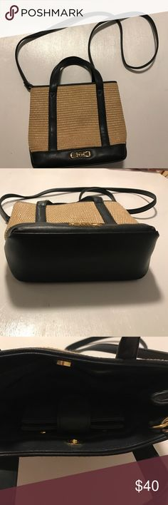 Etienne Aigner navy and straw purse Gently used purse comes with wallet.  Navy and straw. Etienne Aigner Bags